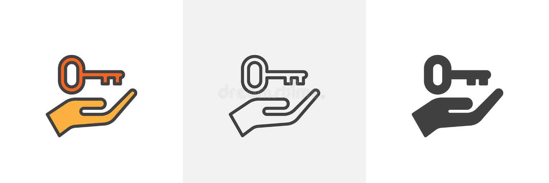 Ręka podtrzymuje kluczową ikonę royalty ilustracja
