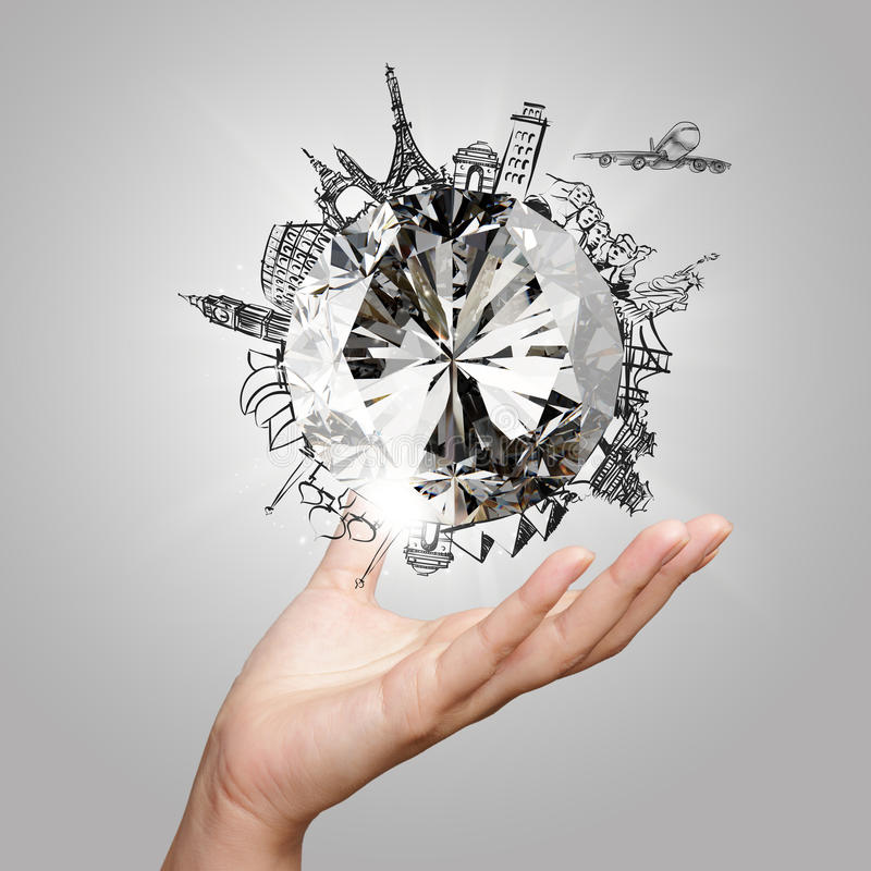 Ręka pokazuje 3d diament z wymarzony podróżować obrazy stock