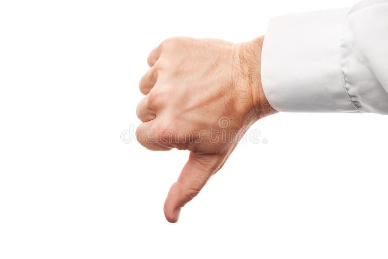 Ręka pokazuje kciuki zestrzela żadny znaka odizolowywającego na bielu obraz stock