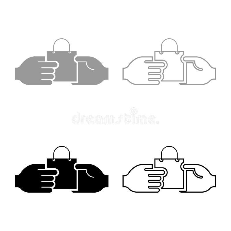 Ręka przechodzi pakunek inna ręki ręki przepustki torba inny ręki pojęcia handlu pomysłu handlu rynku tematu ikony Marketingowy s ilustracja wektor
