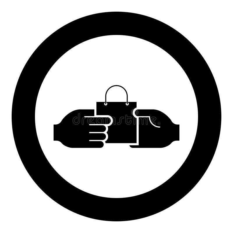 Ręka przechodzi pakunek inna ręki ręki przepustki torba wewnątrz inna ręki pojęcia handlu pomysłu handlu rynku tematu Mark ilustracja wektor