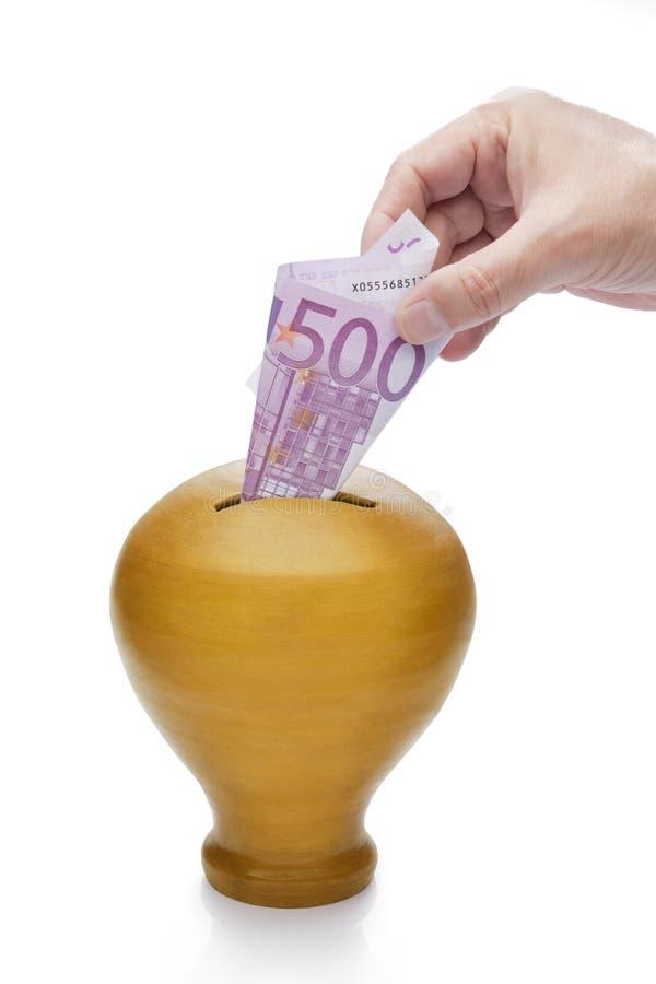 ręka pudełkowaty złoty pieniądze obrazy stock