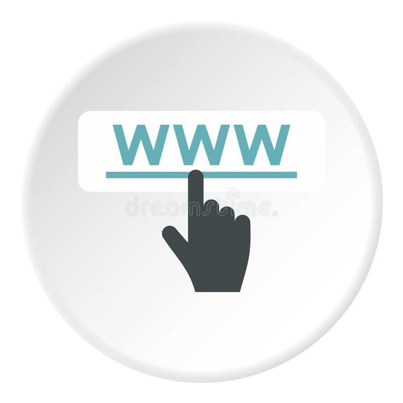 Ręka punkty WWW ikona, mieszkanie styl royalty ilustracja