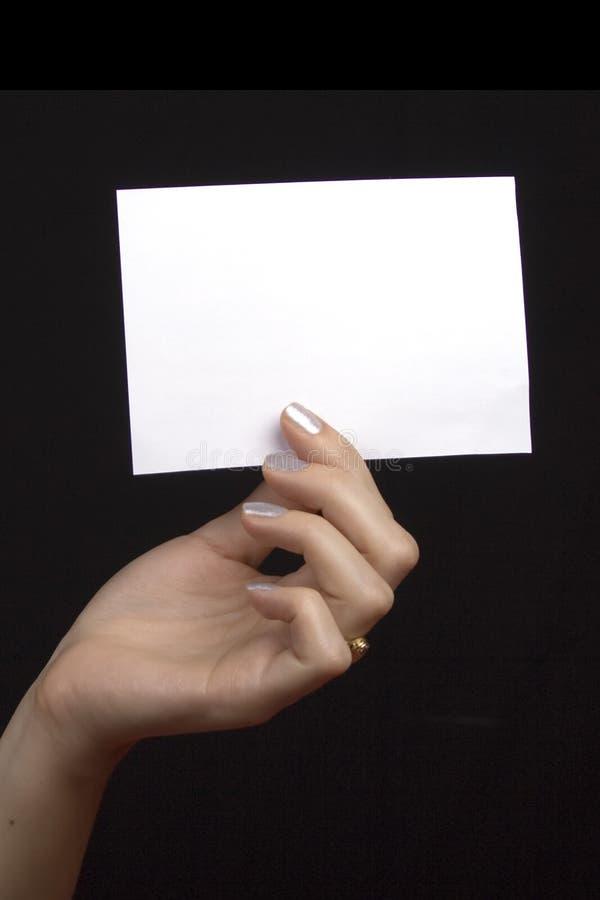 ręka pustej karty fotografia stock
