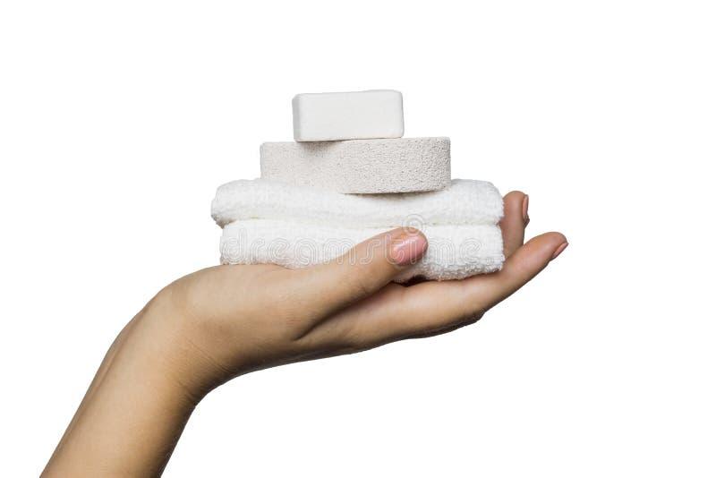 Ręka ręcznik zdjęcia royalty free