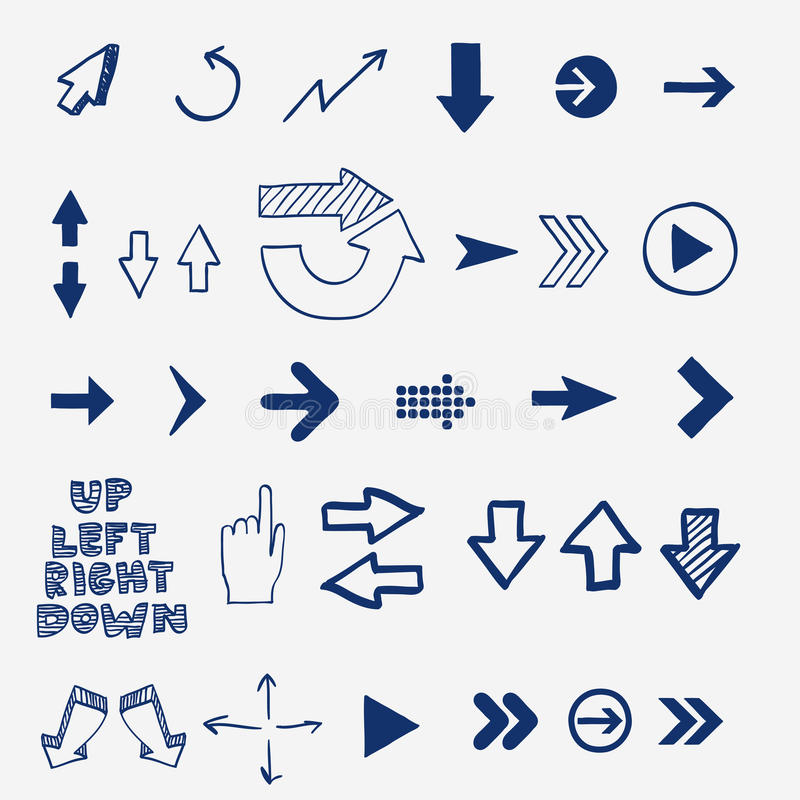 Ręka remisu doodle nakreślenia strzała - pointery, kursory royalty ilustracja