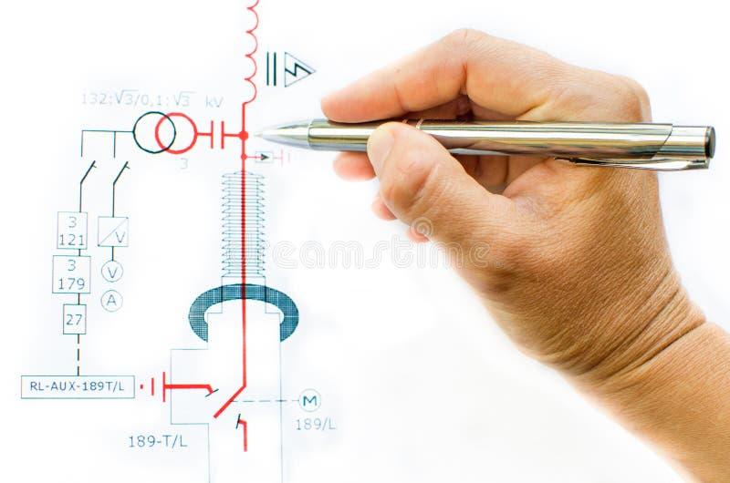 Ręka remisu elektryczny plan zdjęcia stock