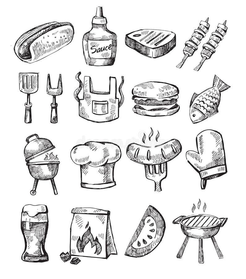 Ręka remisu grill royalty ilustracja