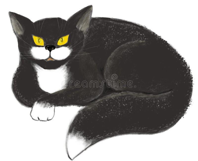 Ręka remisu ilustracja czarny kot z kolorem żółtym ono przygląda się na białym tle ilustracji