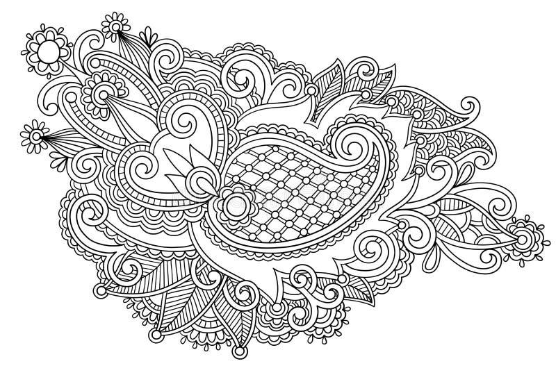 Ręka remisu kreskowej sztuki czarny i biały ozdobny kwiat ilustracji