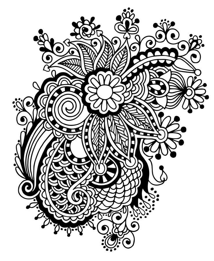 Ręka remisu kreskowej sztuki czarny i biały ozdobny kwiat royalty ilustracja