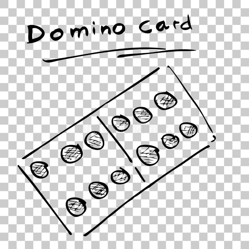 Ręka remisu nakreślenie jeden domino karta przy Przejrzystym skutka tłem ilustracja wektor