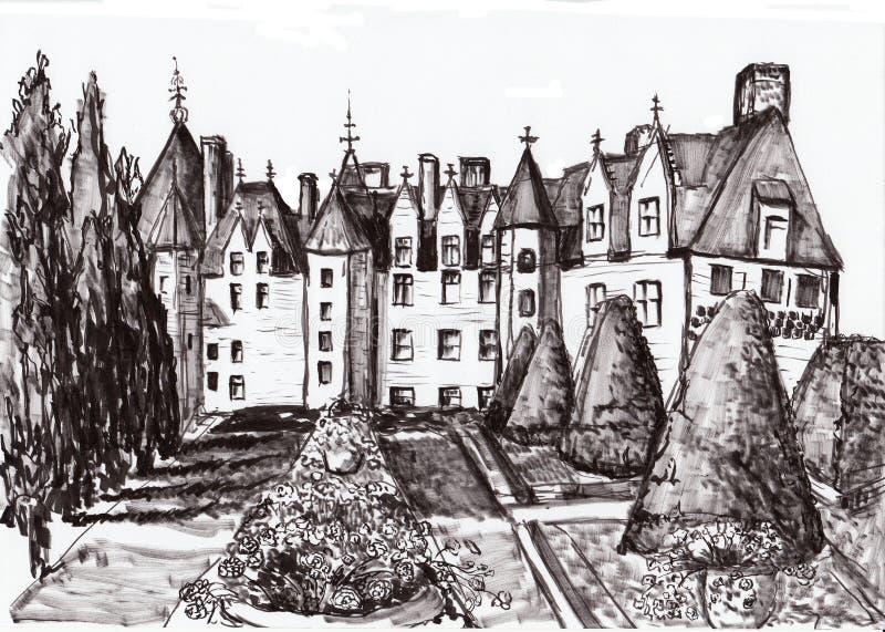 Ręka remisu Paris budynek ilustracja wektor