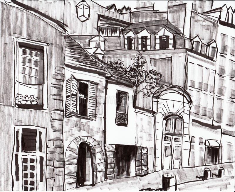 Ręka remisu Paris budynek royalty ilustracja