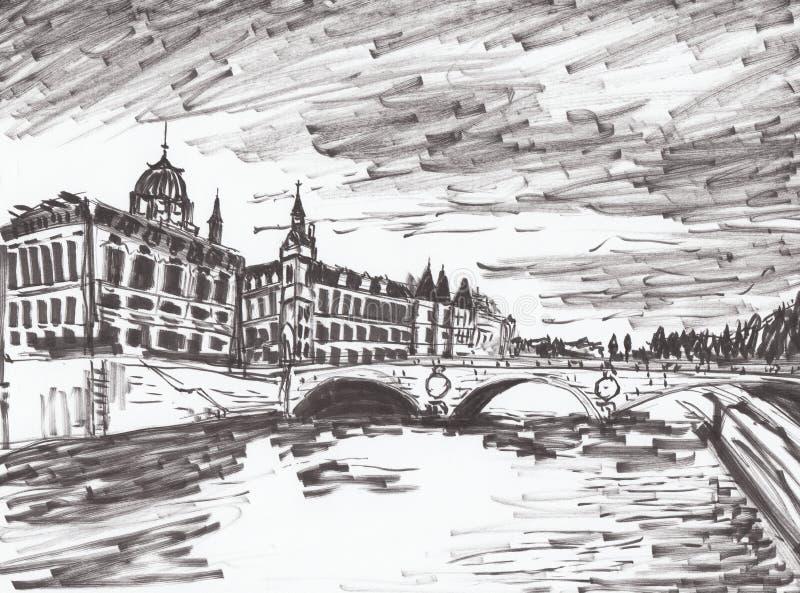 Ręka remisu Paris rzeka ilustracji