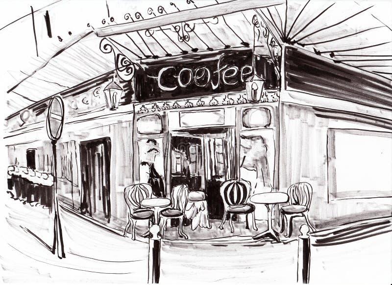 Ręka remisu Paris sklep z kawą ilustracji