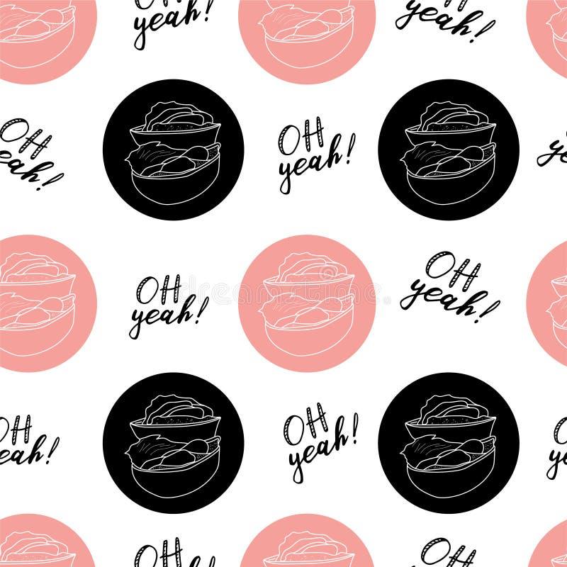 Ręka remisu wektorowa ilustracja na białym tle Różowy kolor Amerykański hamburger, Cheeseburger literowanie bezszwowy wzoru ilustracji