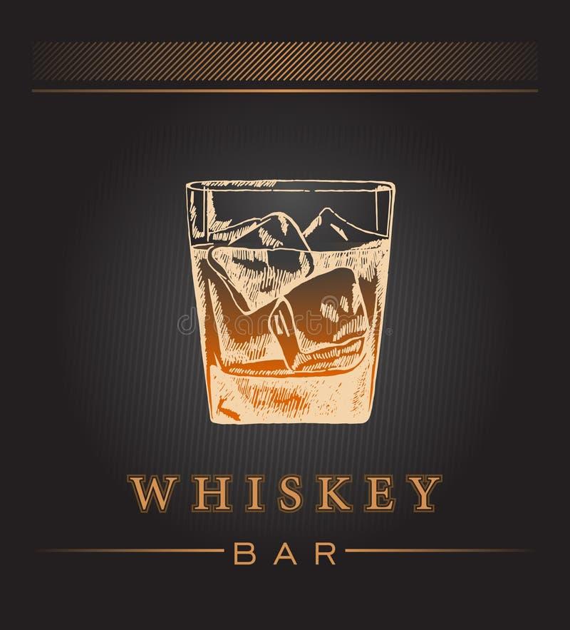 Ręka remisu whisky etykietka ilustracja wektor