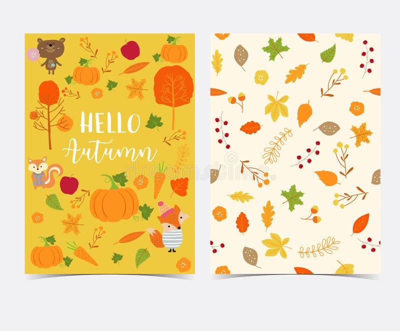 Ręka rysująca śliczna jesieni karta i bezszwowy wzór z kwiatem, le ilustracja wektor