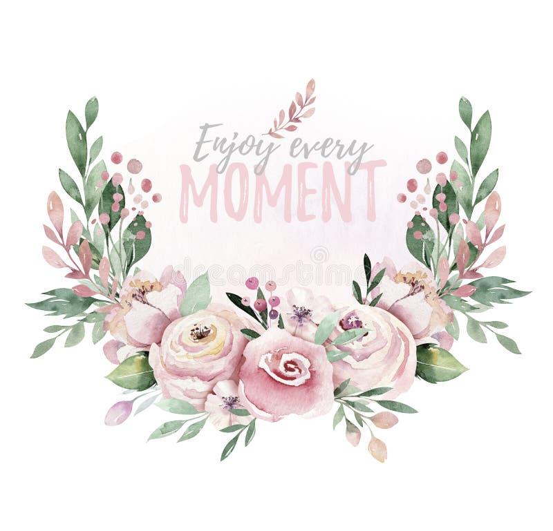 Ręka rysująca akwarela wianku ilustracja Odosobniony Botaniczny wreathes zielone gałąź i kwiatów liście Wiosna i ilustracji