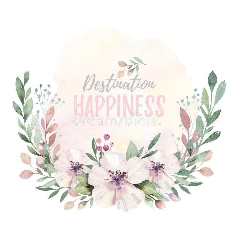 Ręka rysująca akwarela wianku ilustracja Odosobniony Botaniczny wreathes zielone gałąź i kwiatów liście Wiosna i royalty ilustracja