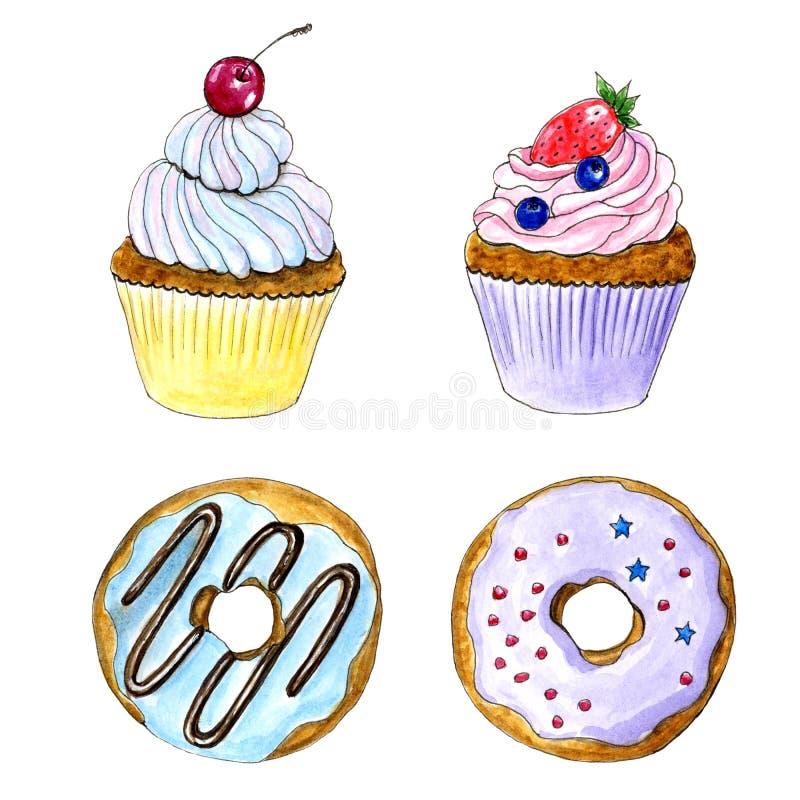 Ręka rysująca akwareli babeczka i donuts karta ilustracji