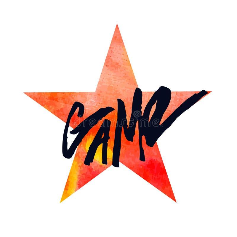 Ręka rysująca akwareli gwiazda Literowanie gra Akwareli pojęcia plakat lub druk royalty ilustracja
