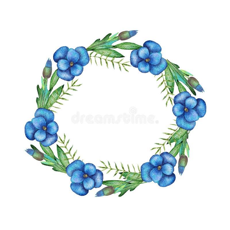 Ręka rysująca akwareli ilustracja Wianek z botanicznymi wiosna liśćmi greenfield elementy kwieciści projektów Doskonalić dla ilustracja wektor