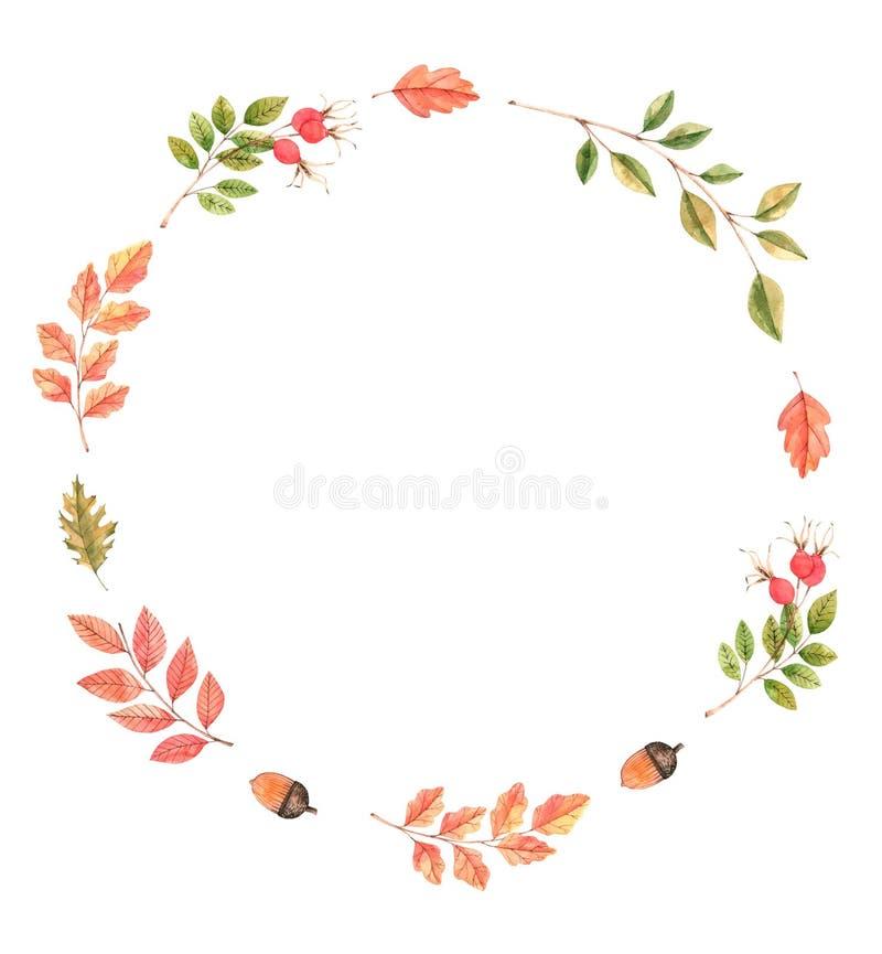 Ręka rysująca akwareli ilustracja Wianek z spadków liśćmi, aco royalty ilustracja