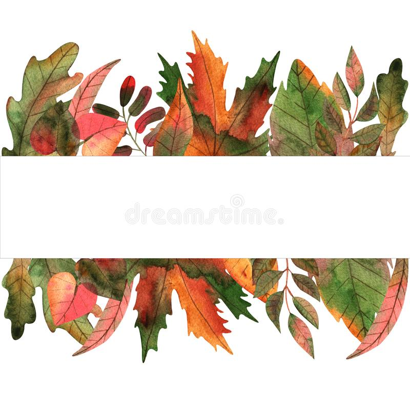 Ręka rysująca akwareli jesieni liści ramowa ilustracja dla karcianego robić, papieru, tkaniny i druku pakuje, royalty ilustracja