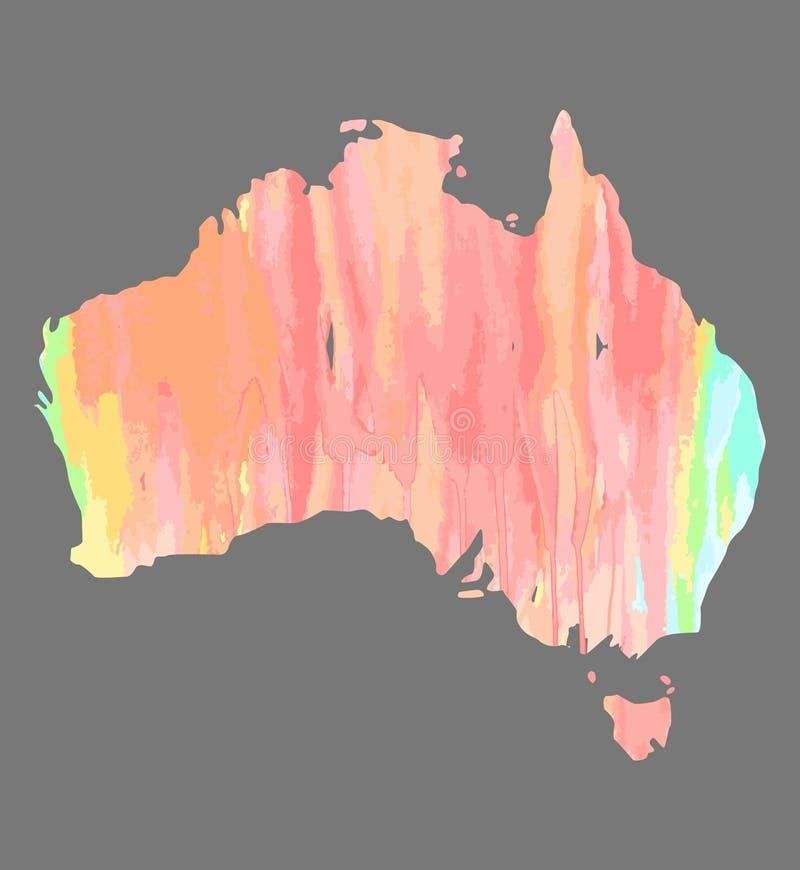 Ręka rysująca akwareli mapa Australia odizolowywał na SIWIEJĘ royalty ilustracja