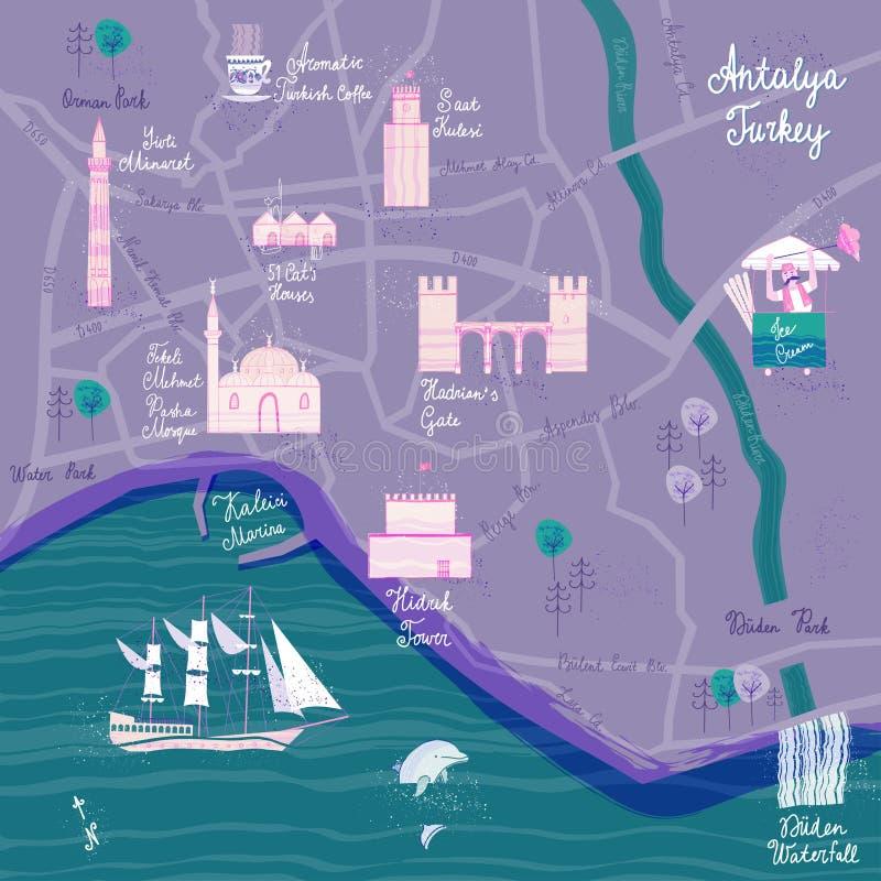 Ręka rysująca Antalya kreskówki mapa Pocztówkowy pojęcie z ciekawymi miejscami dla wizyty royalty ilustracja