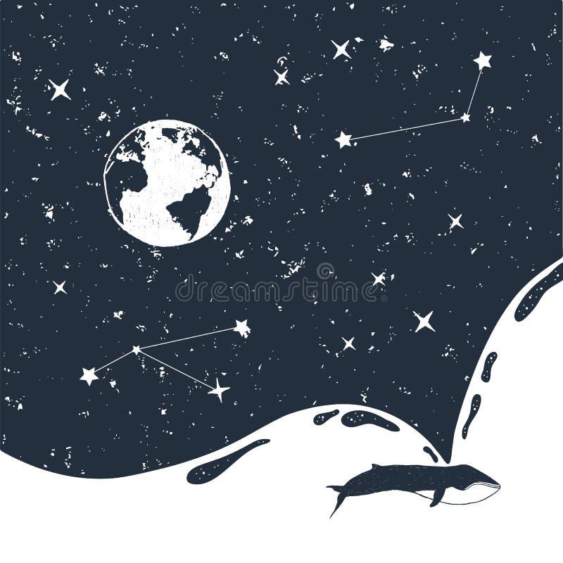 Ręka rysująca astronautyczna odznaka z textured wektorową ilustracją ilustracja wektor