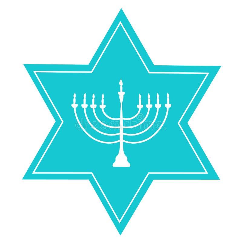 Ręka Rysująca Błękitna David Menorah świeczki właściciela Gwiazdowa Biała sylwetka Żydowskiego Hanukkah Wakacyjnego kartka z pozd