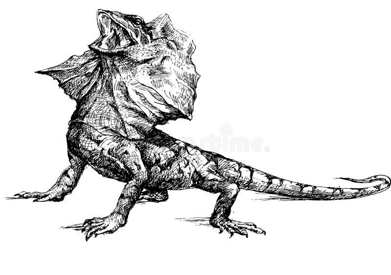 Ręka rysująca bazyliszkowa jaszczurka ilustracja wektor
