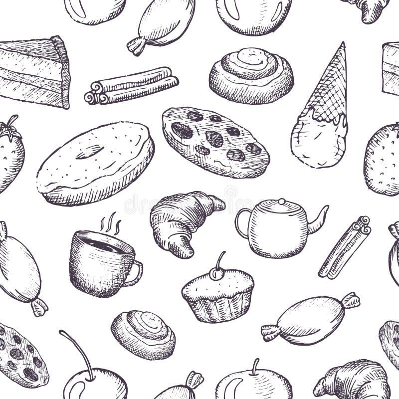 Ręka rysująca bezszwowa tekstura cukierki ilustracja wektor
