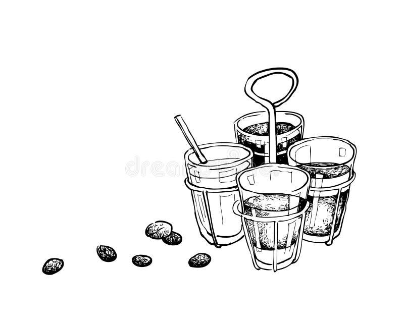 Ręka Rysująca Chińska kawa i herbata z Kawowymi fasolami ilustracji