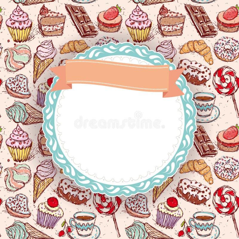 Ręka rysująca ciasteczka croissant babeczki cukierku marshmallow lody torta bezszwowa deseniowa kawa i pączek doodle rama, ribbo royalty ilustracja