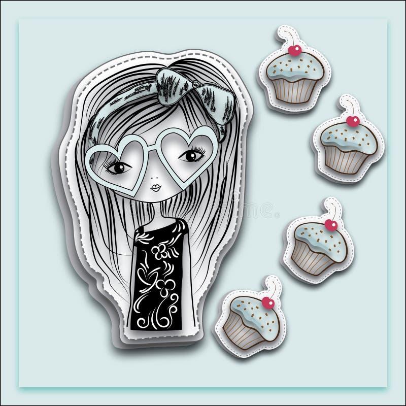 Ręka rysująca długie włosy dziewczyna z kierowymi kształtów okularami przeciwsłonecznymi i słodka bułeczka, bławy tło royalty ilustracja