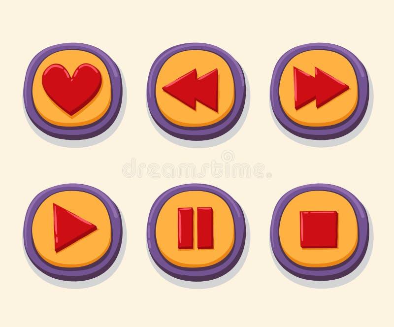 Ręka rysująca 3d sieć zapina dla gracza Jak, rewind, sztuka, fermata, przerwa interneta guzika ustalony kolor royalty ilustracja