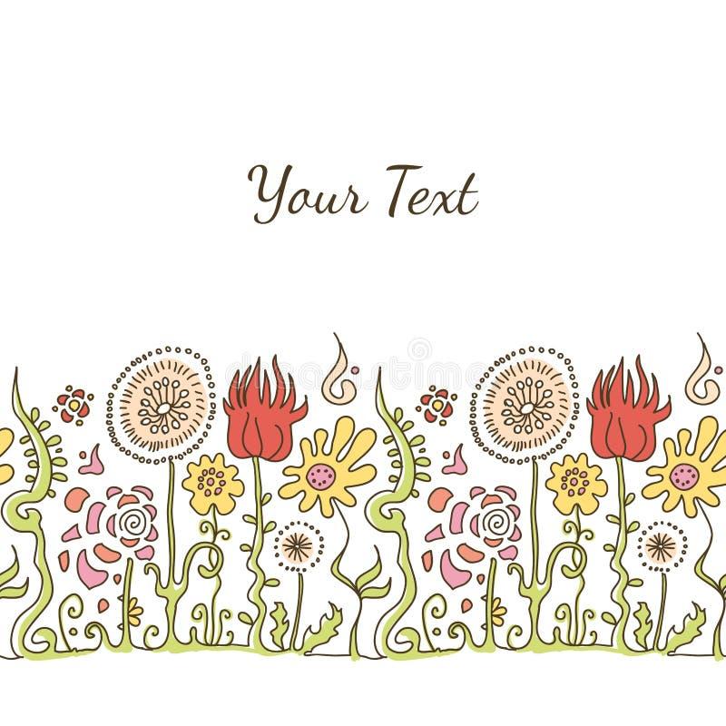 Ręka rysująca dekoracyjna kolorowa ornament linia z kwiatami i na obraz stock