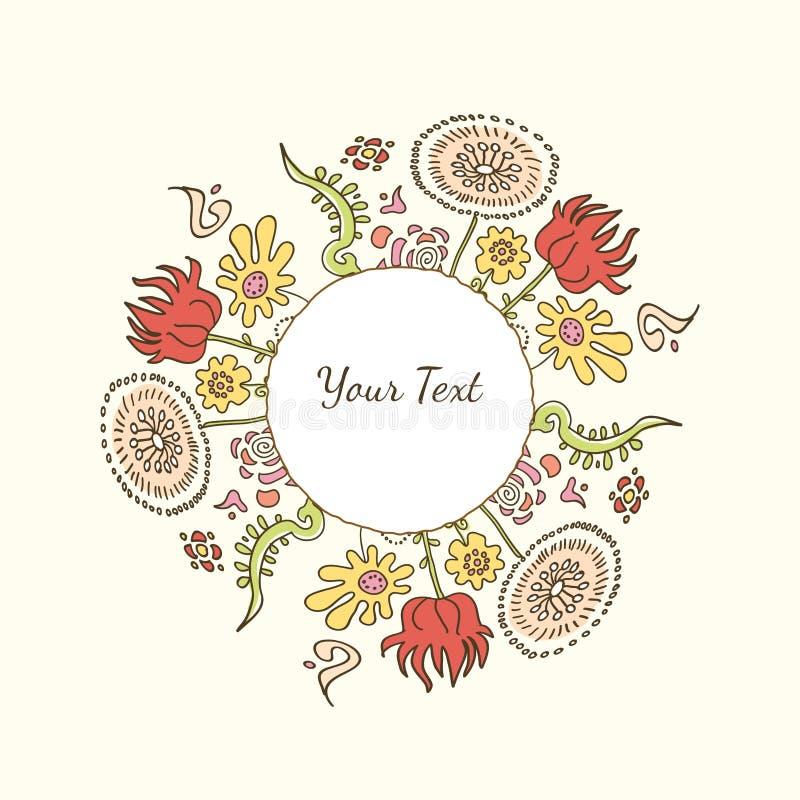 Ręka rysująca dekoracyjna kolorowa wizerunek rama z kwiatami lub tekst ilustracja wektor