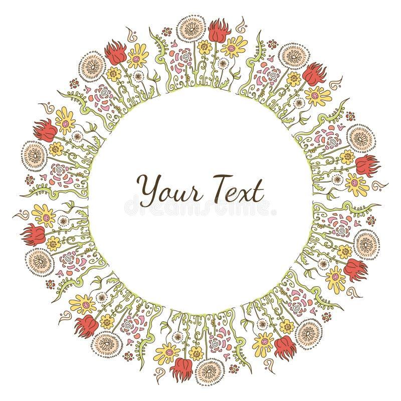 Ręka rysująca dekoracyjna kolorowa wizerunek rama z kwiatami lub tekst zdjęcie stock