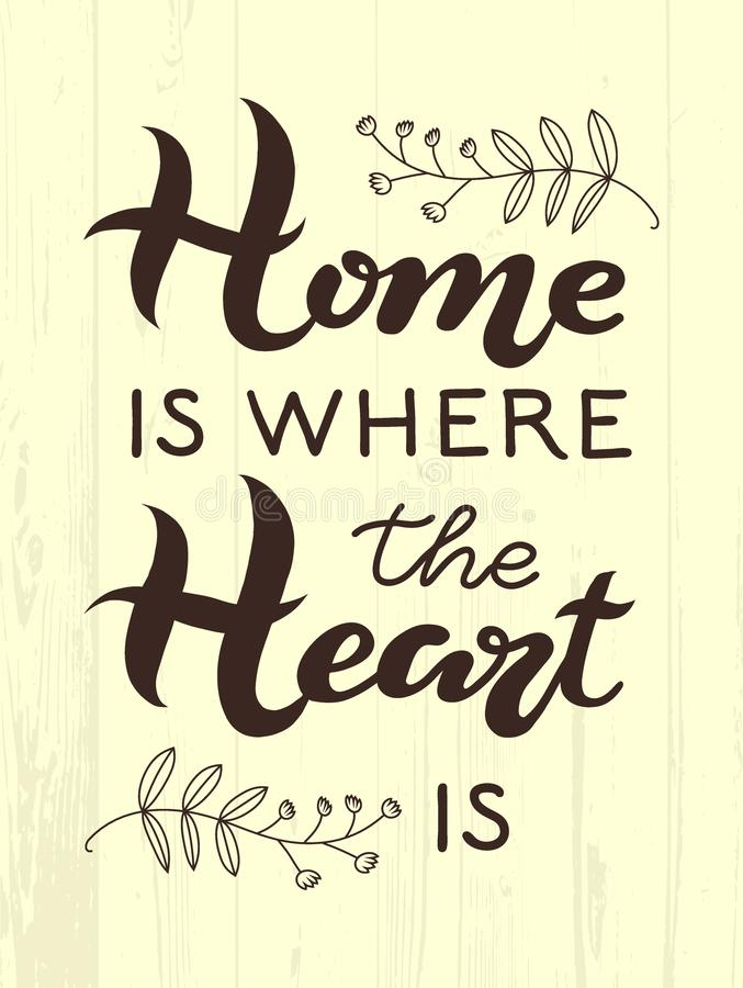 Ręka rysująca Do domu jest dokąd twój serce jest typografii literowania plakatem na textured drewnianym tle Tekst wokoło i wystró royalty ilustracja