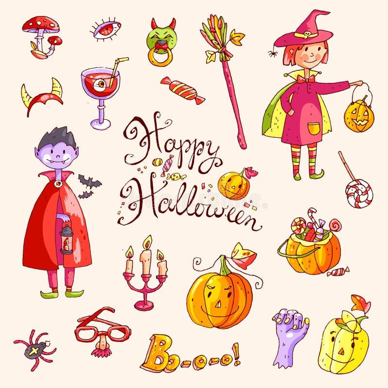 Ręka rysująca doodle kolekcja Halloween elementy: kostiumy, przypalają ilustracji