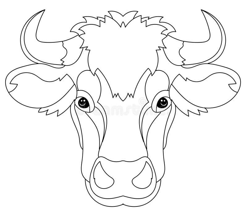 Ręka rysująca doodle konturu krowy głowa ilustracji