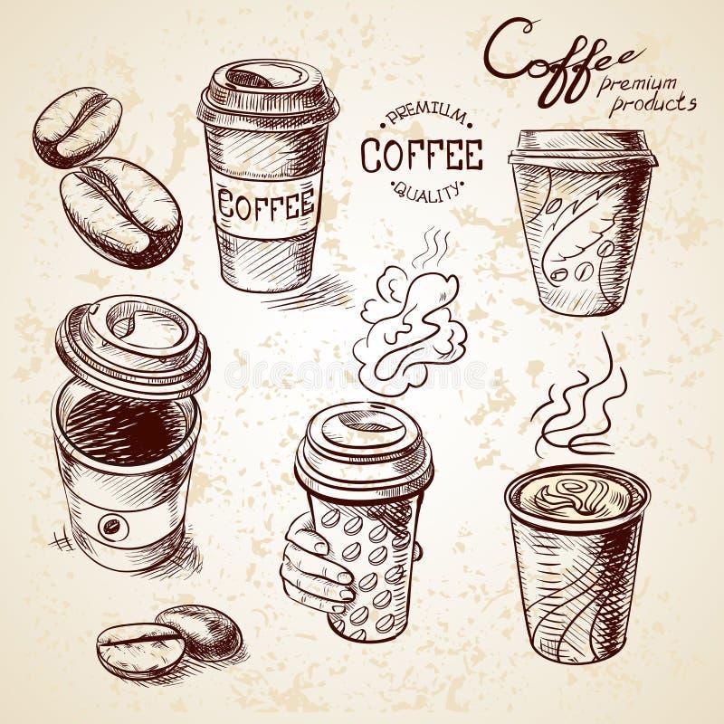 Ręka rysująca doodle nakreślenia rocznika papierowa filiżanka ilustracja wektor