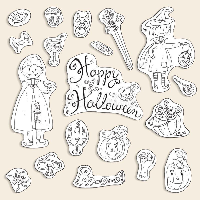 Ręka rysująca doodle wektorowa kolekcja Halloween elementy: kostiumy ilustracji
