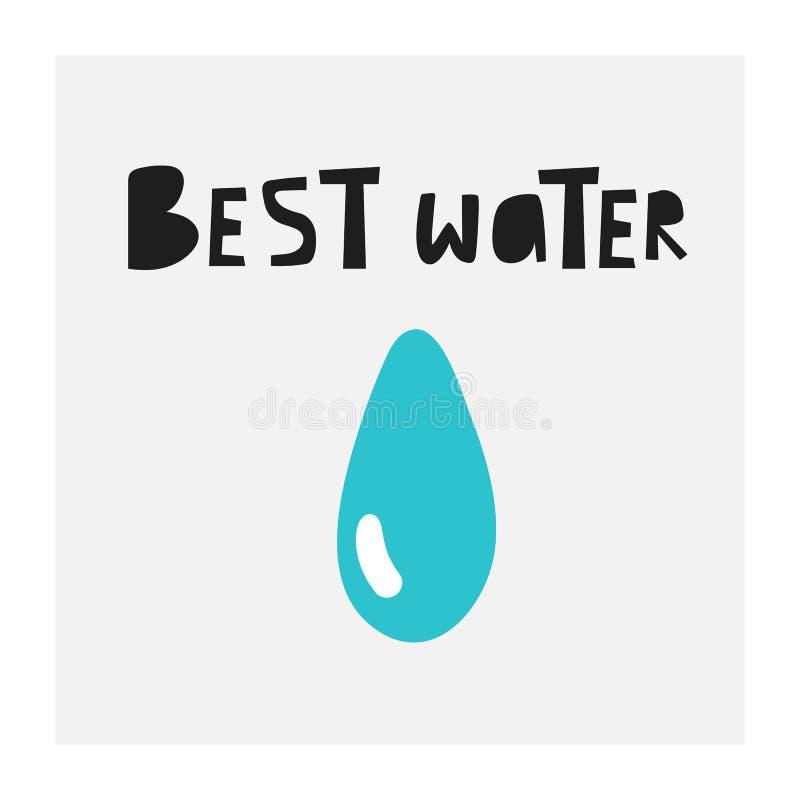 Ręka rysująca doodle wody kropla Karta, plakat, ulotka, strona, pokrywa z wodą ilustracji