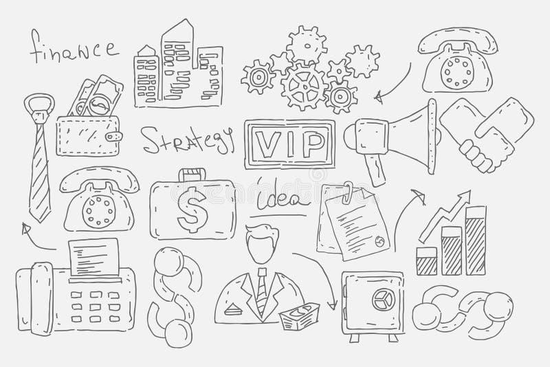 Ręka rysująca doodles tło z biznesowymi ikonami royalty ilustracja